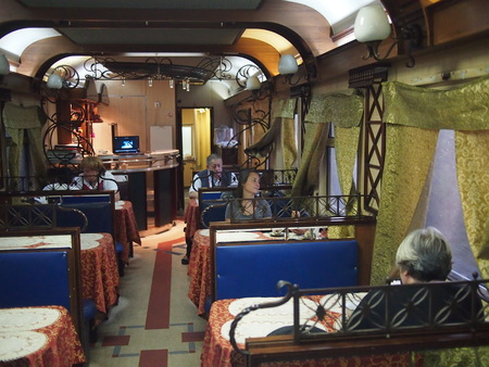 Moscow, Russia - 16 September, 2016: The interior of the restaurant car on the Trans-Siberian railway