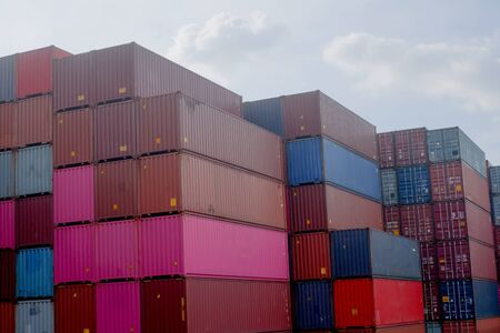 Photo for Container stacks in vessels waiting to be imported and exported - Royalty Free Image
