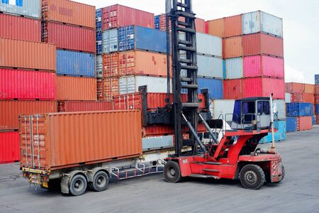 Photo for Container handlers Storage containers for import and export - Royalty Free Image