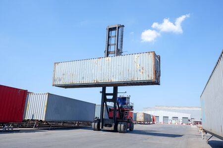 Logistics and transportation of harbor, container truck, container forklift, the concept of export and import in transportation International trade