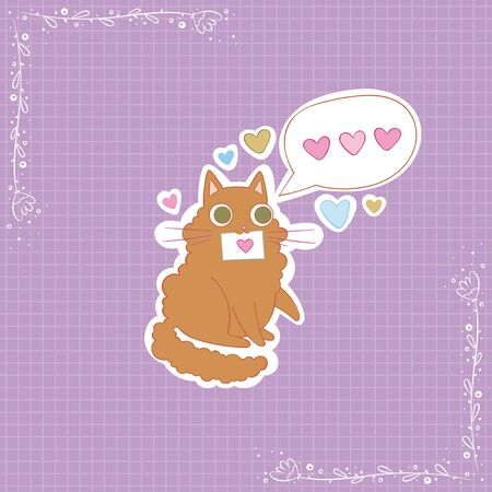 Photo pour Cute cat. Love message. Hearts. Stickers Checkered background. Isolated vector objects. - image libre de droit