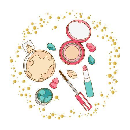 Illustration pour Cosmetics. Mascara, eye shadow, lipstick, powder, perfume, eau de toilette, perfume. Round golden frame. Art. Isolated vector objects on a white background. - image libre de droit