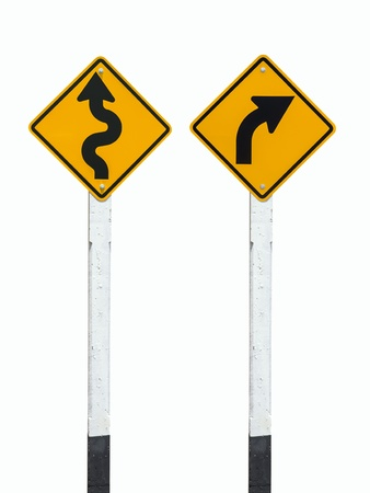 winding sign and turn right sign ion white