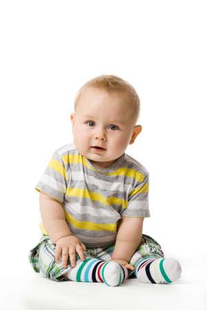 Photo pour little boy sitting - image libre de droit