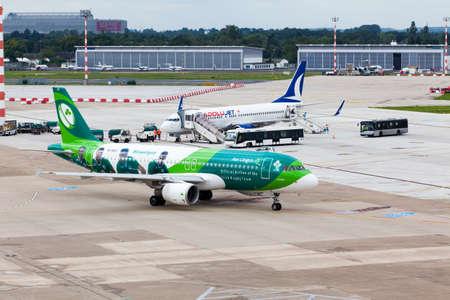 DUSSELDORF, GERMANY - SEPTEMBER 05:airplane of Aer Lingus Group above the Dusseldorf airport on September 05,2015 in Dusseldorf,Germany. Official Airline of the Irish Rugby Team