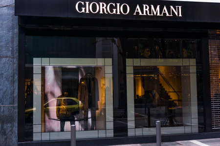 FRANKFURT, GERMANY - OKTOBER 24 2015 : Giorgio Armani signage above store entrance in Frankfurt, Germany.  Armani is an Italian luxury fashion house founded by Giorgio Armani.