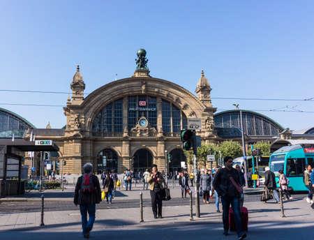 FRANKFURT - SEPTEMBER 11: Facade of Frankfurt Central station on September 11, 2015 in Frankfurt, Germany. Central Station is the busiest railway station in Germany