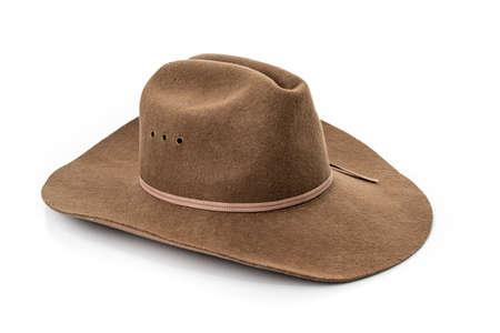 Photo pour cowboy hat closeup isolated on a white background  - image libre de droit