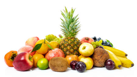 Photo pour Mix of Fresh Organic Fruits isolated on white background  - image libre de droit