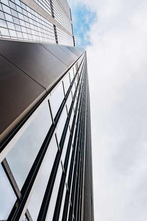Photo pour Blue skyscraper facade. office buildings. modern glass silhouettes - image libre de droit