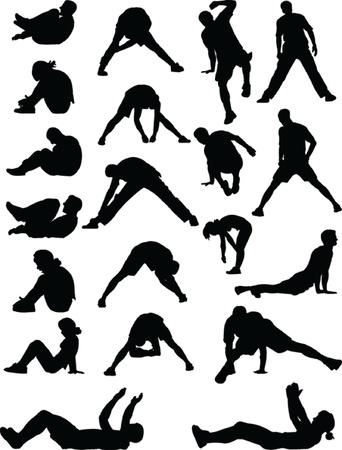 Foto de young people exercising - vector - Imagen libre de derechos