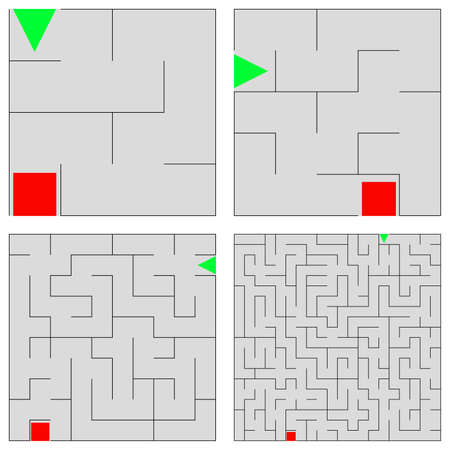 Set of small labyrinth. Childrens game, with different levels of complexity.