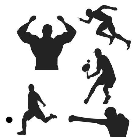 Sport - silhouette. Bodybuilder, boxer, tennis player, soccer player, workout, running.