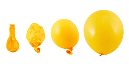 Four stages of orange balloon inflation process isolated over white background