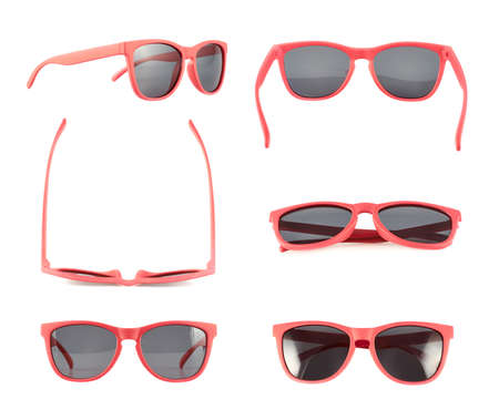 Red sun glasses isolated over the white background, set of six foreshortenings