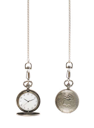 Closed and opened silver pocket watch on a chain isolated over the white background