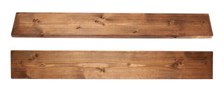 Brown paint coated pine wood board plank isolated over the white background, set of two foreshortenignsの写真素材