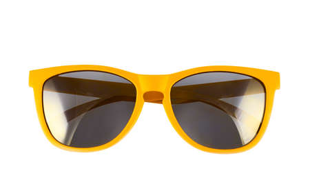 Photo pour Yellow sun glasses isolated over the white background - image libre de droit