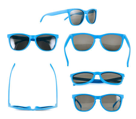 Blue sun glasses isolated over the white , set of six different foreshortenings