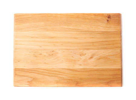 Foto de Unused brand new pine wooden cutting board isolated over the white background, top view above foreshortening - Imagen libre de derechos