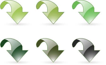 arrow download green button icons in six slightly different green tones