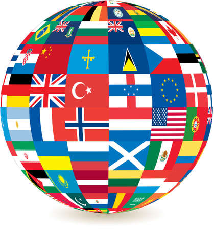 globe of world flags with a drop shadow detail