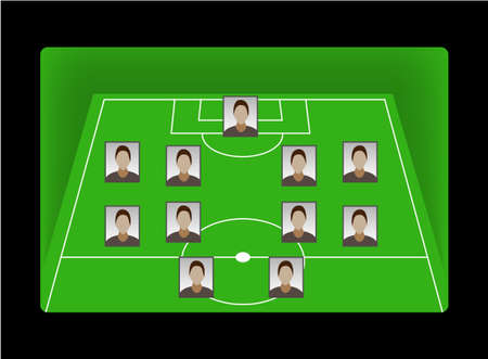 Football soccer field pitch with player heads