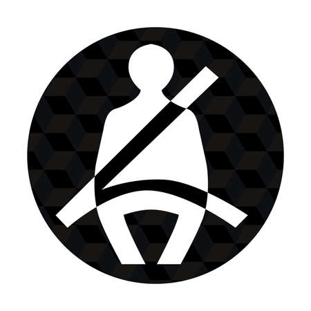 illustration of  seatbelt icon in only black white color tones