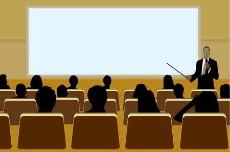 Illustration for a person doing a presentation at a business conference or product marketing in front of crowd to audience. add your copy text on blank projection screen.  - Royalty Free Image