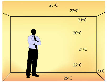 illustration of underfloor indoor heating with temperature degrees in the room