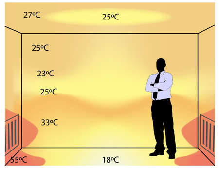 illustration of classical indoor heating with temperature degrees in the room