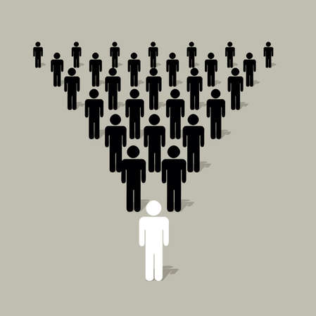 Illustration pour pyramidal structure with human silhouettes with a a leader in front of other  - image libre de droit