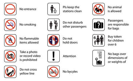 illustration of signs used in stations of rail transport systems