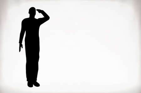 Foto per Silhouette of an army soldier saluting - Immagine Royalty Free