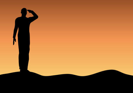 Foto per Silhouette of an army soldier saluting on hills against sunset - Immagine Royalty Free