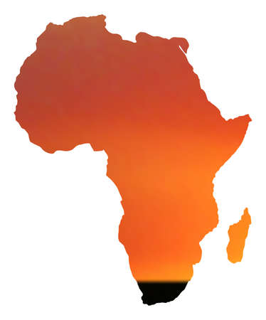 illustration of map of africa in sunset