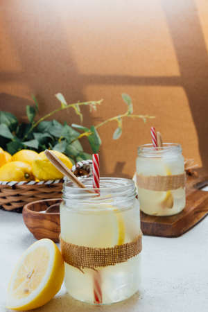 Homemade lemonade with sugar. refreshing drink ideal for summer days