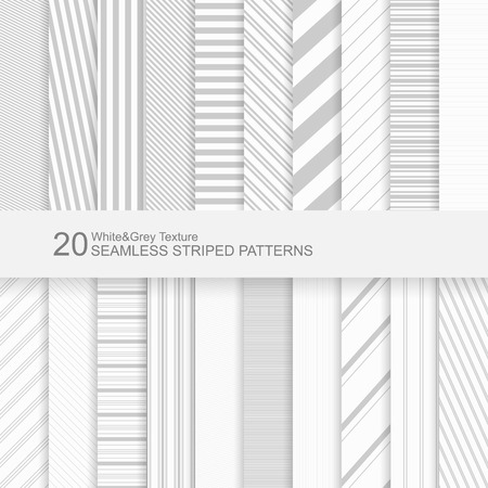 Illustration for 20 Seamless striped vector patterns, white and grey texture. - Royalty Free Image