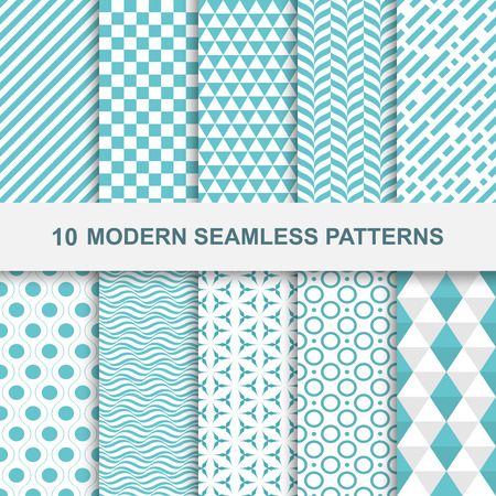 Ilustración de 10 Modern seamless geometric patterns. Decorative green textures. - Imagen libre de derechos