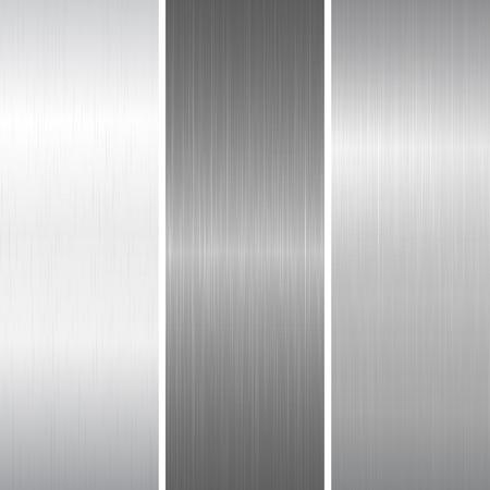 Set of polished metallic surface. Vector illustration