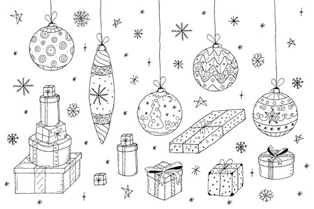Christmas set in doodle style.Hand drawn gifts and xmas balls.Vector illustration.