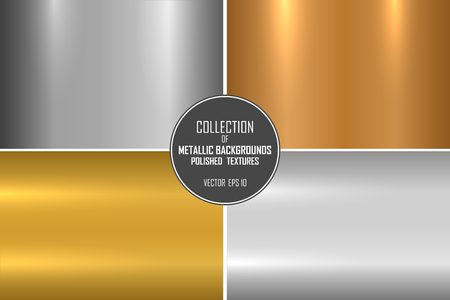Illustration pour Collection of realistic metallic textures. Shiny polished metal backgrounds for your design. - image libre de droit