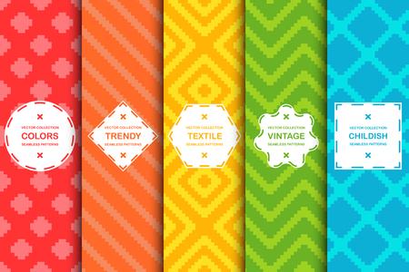 Illustration pour Set of colorful seamless stylish patterns - vibrant design. Textile creative backgrounds. Bright cloth texture. - image libre de droit