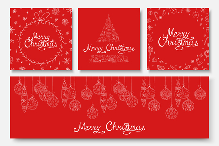Illustration pour Collection of vector beautiful Merry Christmas cards - hand drawn design. Winter holiday red backgrounds with calligraphy lettering and doodle elements. - image libre de droit