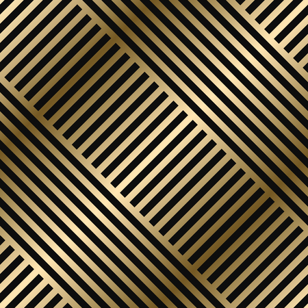 Illustration for Vector diagonal geometric striped pattern - seamless luxury gold gradient design. Rich endless background. Repeatable bright texture. - Royalty Free Image