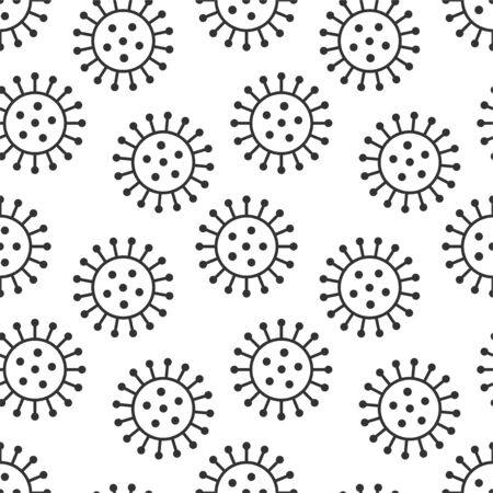 Illustration for Vector seamless virus pattern. Cartoon black and white cell design. Artistic endless bacteria background - Royalty Free Image