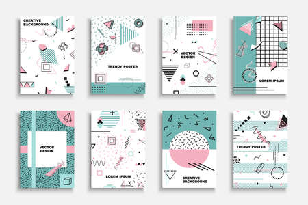 Illustration for Collection of vector contemporary covers, templates, posters, placards, brochures, banners, flyers and etc. Art fashion backgrounds. Abstract trendy colorful design 80-90s. Memphus style. - Royalty Free Image