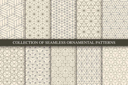 Illustration for Collection of vector seamless geometric ornamental patterns. Trendy beige oriental backgrounds. Tile mosaic design - Royalty Free Image