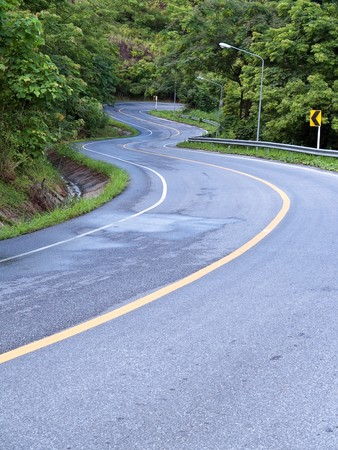 Road curves pass through the mountain and forest