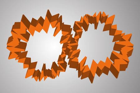 Abstract orange cogwheel like 3D circles on grey background